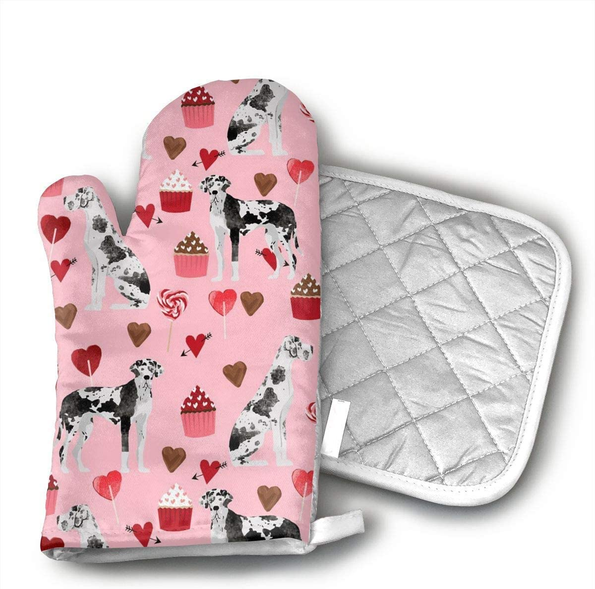 Great Dane Valentines Oven Mitts and Pot Holders Set with Polyester Cotton Non-Slip Grip, Heat Resistant, Oven Gloves for BBQ Cooking Baking, Grilling