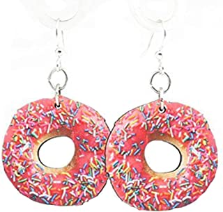 product image for Green Tree Jewelry Pink Doughnut Printed Wooden Laser Cut Earrings #1525