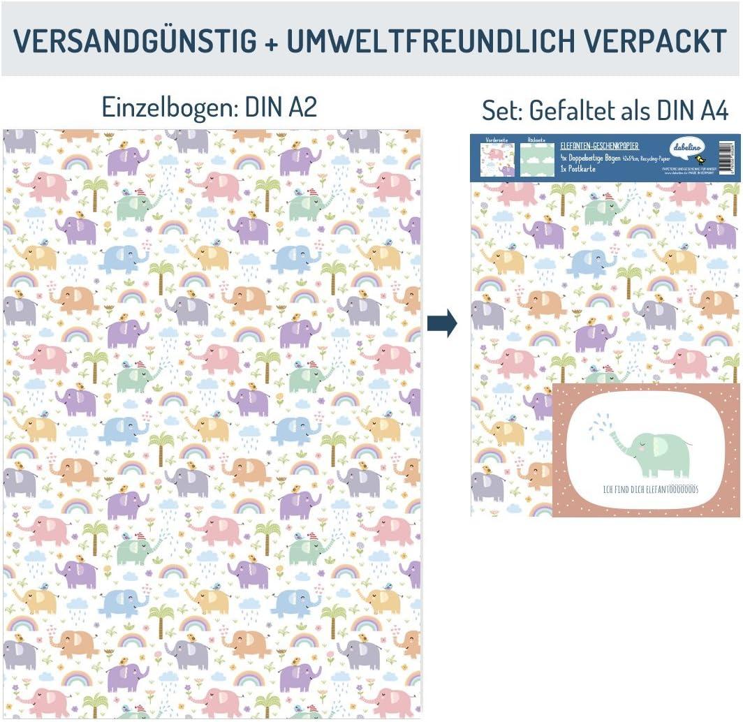 per ragazzi e ragazze 4 x carta da regalo Dinosauri per bambini: fogli doppi DIN A2 + 1 x cartolina ecologico, carta riciclata Made in Germany