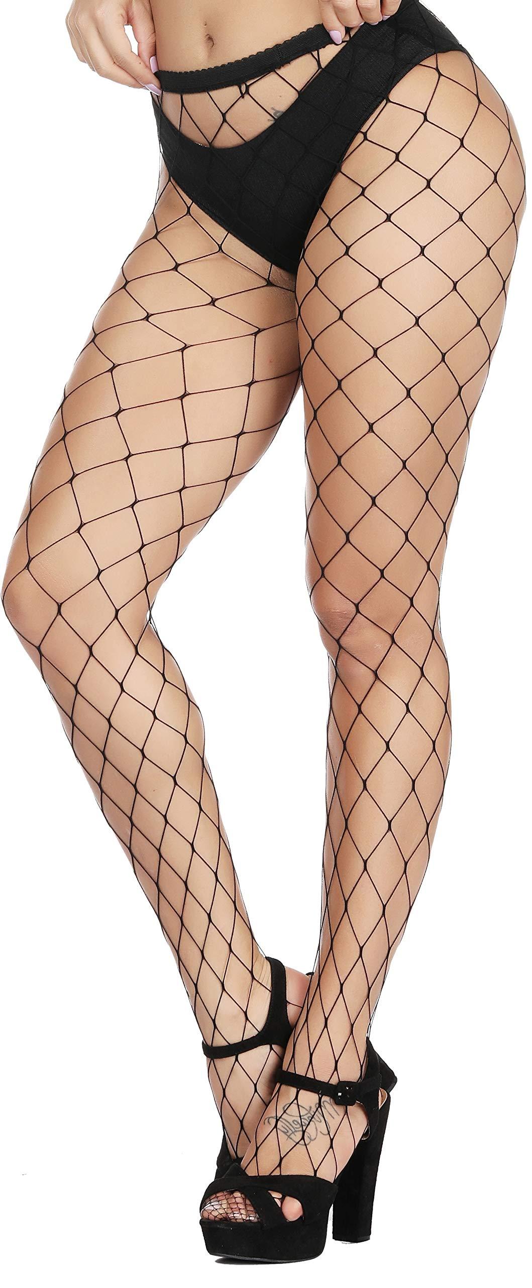 HZH Womens High Waist Tights Fishnet Stockings Thigh High Stocking Pantyhose