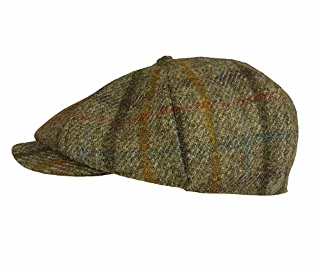 d1155652e03 Failsworth Hats Harris Tweed Lewis Newsboy Cap Green Check (59cm ...
