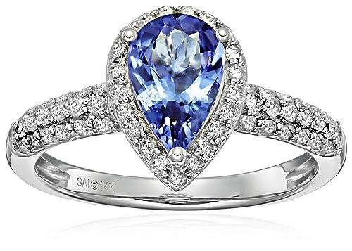 3e7a6e385c65 Amazon Collection14Â K oro blanco tanzanita y diamantes anillo de  compromiso Pera. (1