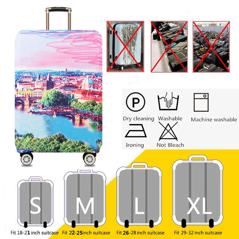 Travel Elastic Spandex Suitcase Protector Fits 18 to 32 Inch Luggage Suitcase Dust Cover,D,M HBWZ Luggage Cover,Protective Washable Suitcase Cover