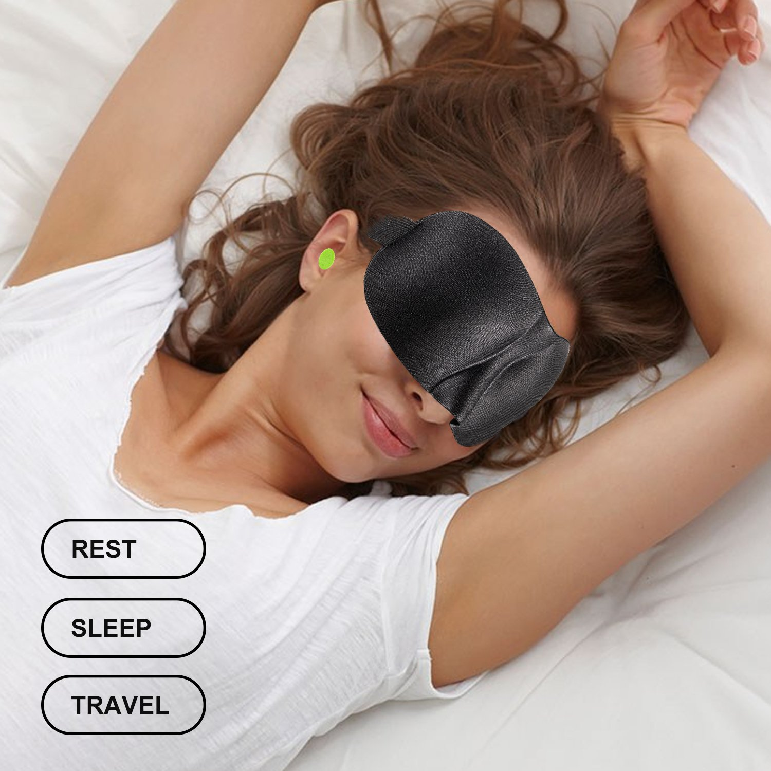 SLDHR 3D Comfortable Sleep Mask 100% Silk | Super Soft Eyes Sleeping Goggles | Perfect for Travelling, Nap, Mediation or Yoga, with Ear Plugs, Portable Case