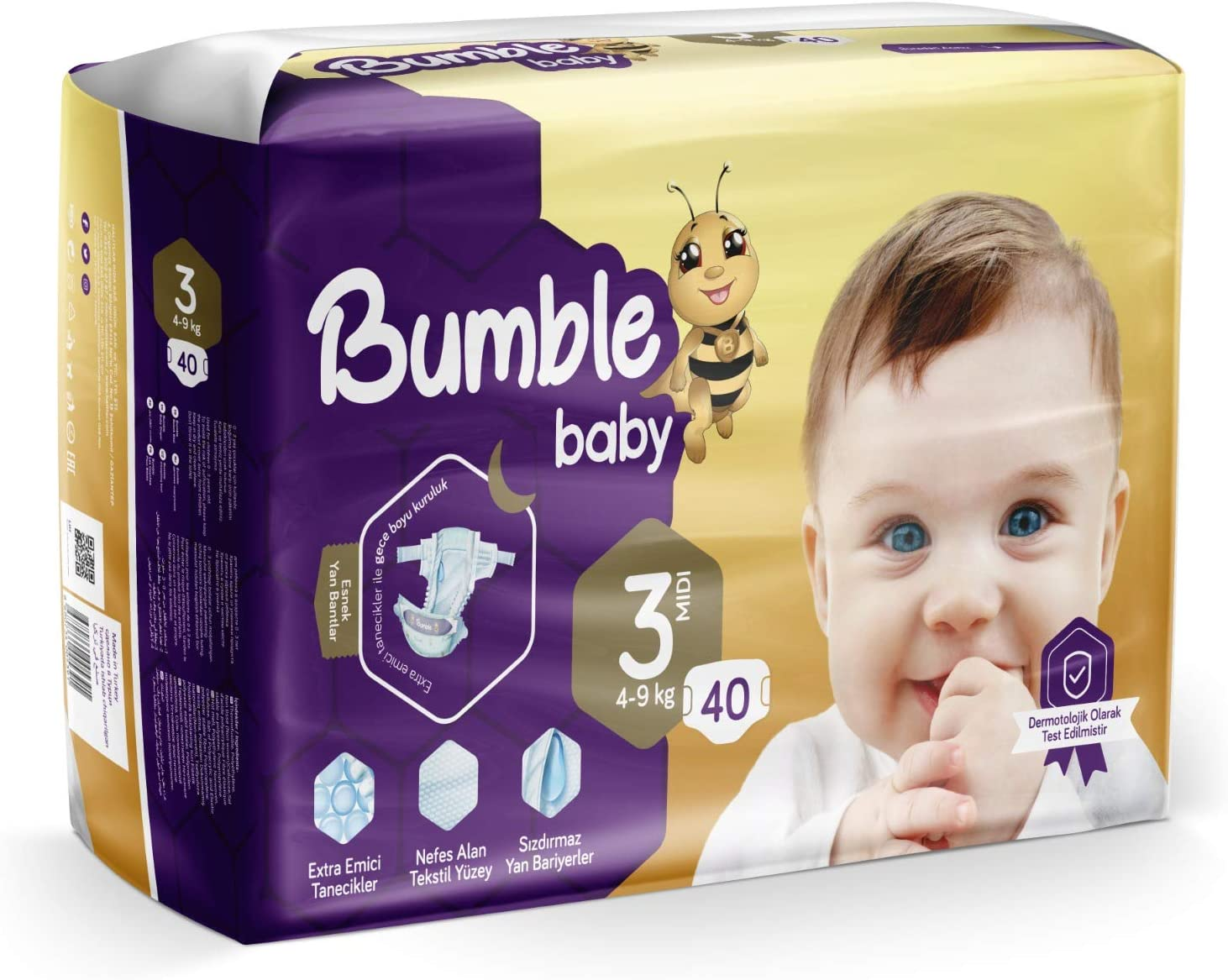 Bumble Baby Diapers, Size 3 4-9KG 40 Counts drip Proof barriers, Textile Surfaces, Absorbing Particles, Ultra-Flexible Side Grip Strips (3)
