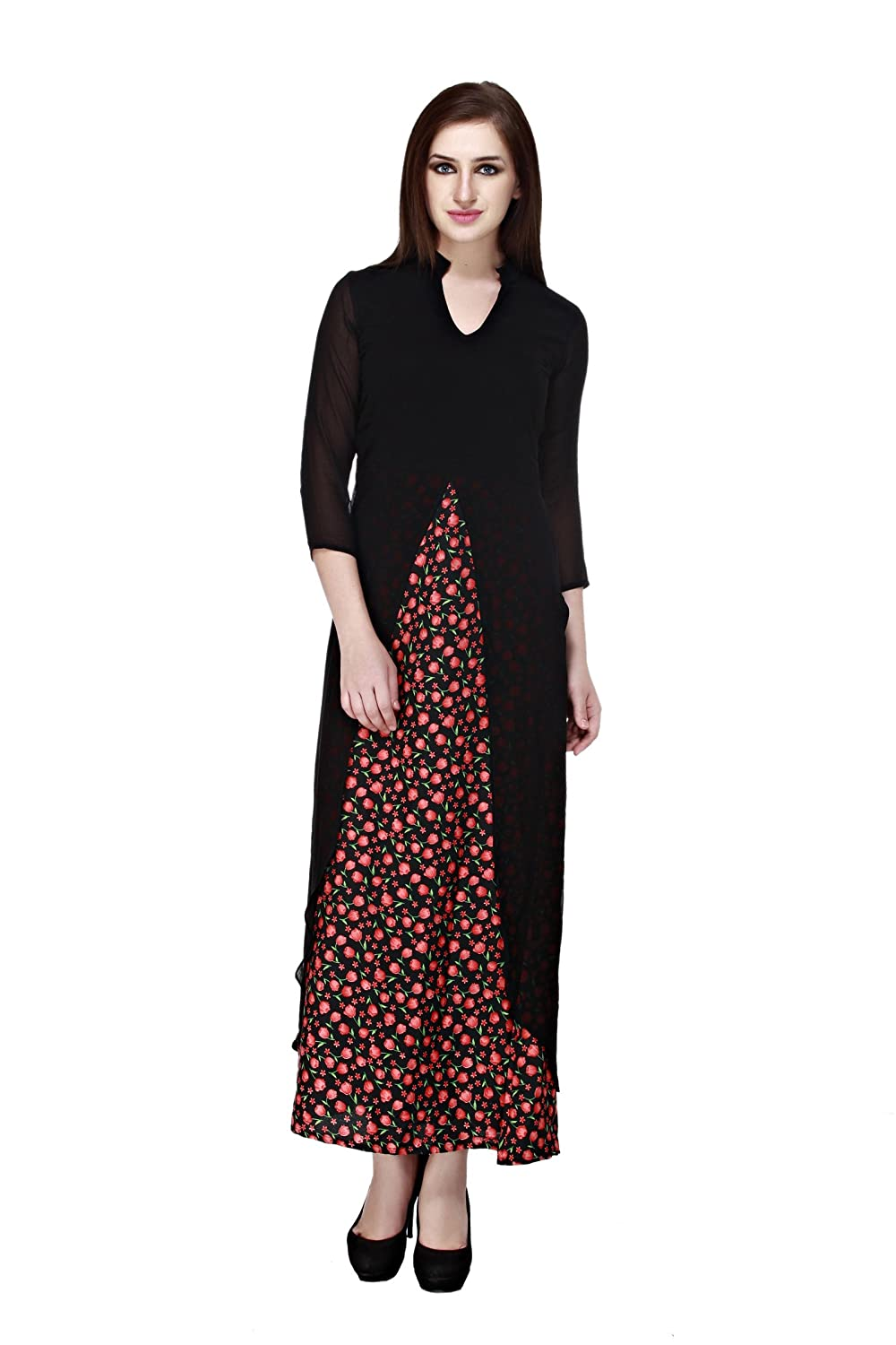 4a209732141 cottinfab Women s Maxi Multicolor Dress  Amazon.in  Clothing   Accessories