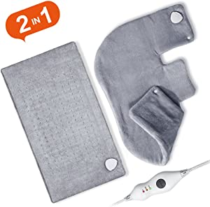 Ultra Soft Heating Pad Set for Back and Shoulder, Fast Heating with Auto Shut Off, 18 x 25 inch and 12 x 24 inch Heating Pad for Neck, Abdomen, Waist with Dry Moist Function