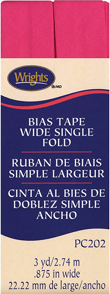 """New in Package Wrights 7//8/"""" Bias Tape Wide Single Fold White 3 yds"""