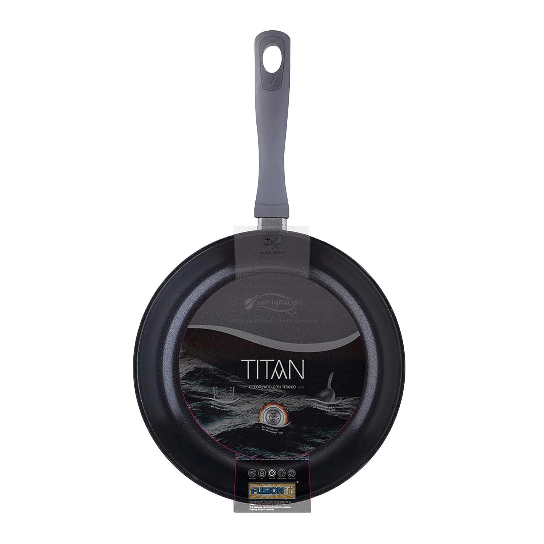 San Ignacio PK1231 Batería de Cocina Titan 6 Piezas: cazo, tartera Cacerola con Tapa, Gris