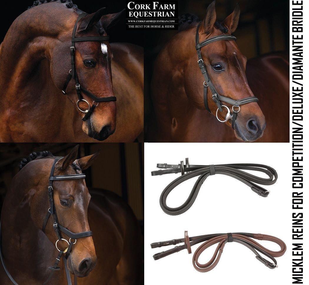 Rambo Micklem Competition Rein English Leather Dark Havana Horse