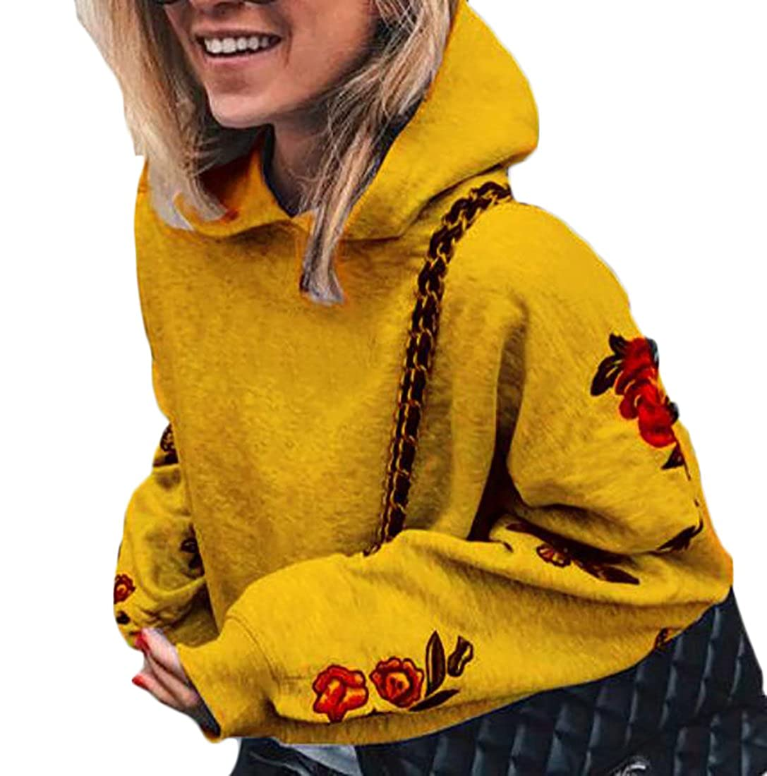 WSPLYSPJY Women Fashion Hooded Floral Print Long Sleeve Pullover Sweatshirt Yellow M