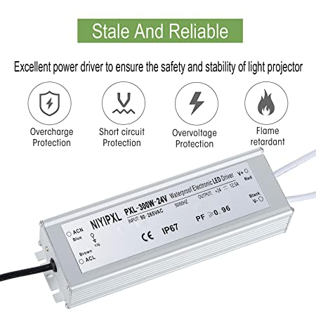 Amazon.com: LED Driver 300 Watts(150W X2) 24V DC Transformer ...
