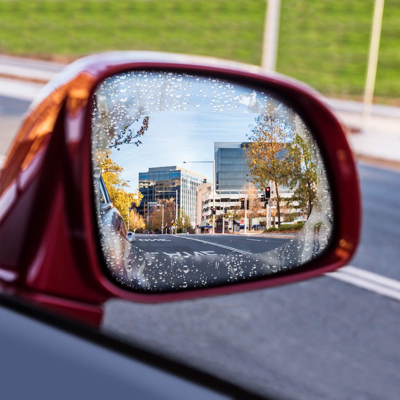 JOLVVN Car Rearview Mirror Screen Protector for All Models Anti-Fog Anti-Glare Anti-scratch Rain Proof Transparent Window Film Nano HD Car Mirror Accessories 4 Pieces