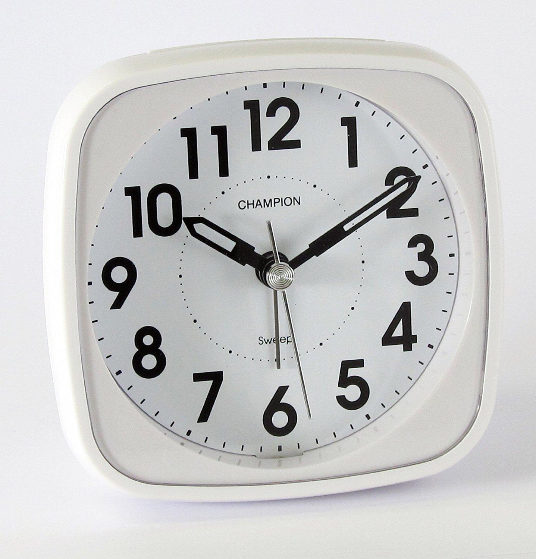 Classic Bold Traditional White Quartz Sweeping Non Ticking Alarm Clock Champion MF838W
