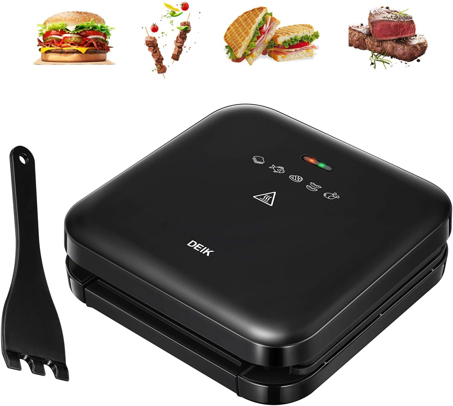 Deik Electric Indoor Grill, Smokeless Grill, Panini Press with 1200W Double-Side Heating Plates, 6-Serving, Nonstick Easy Clean Plates, Includes Grill Spatula Extra-Large Drip Tray, Black