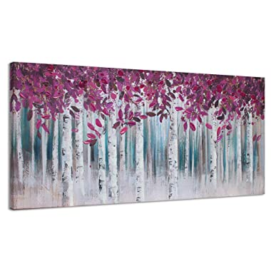 Canvas Wall Art Purple White Birch Forest Painting Decoration for Living Room Large Landscape Picture Modern Abstract Hand Painted Artwork Decor Hang in Bedroom Office Home