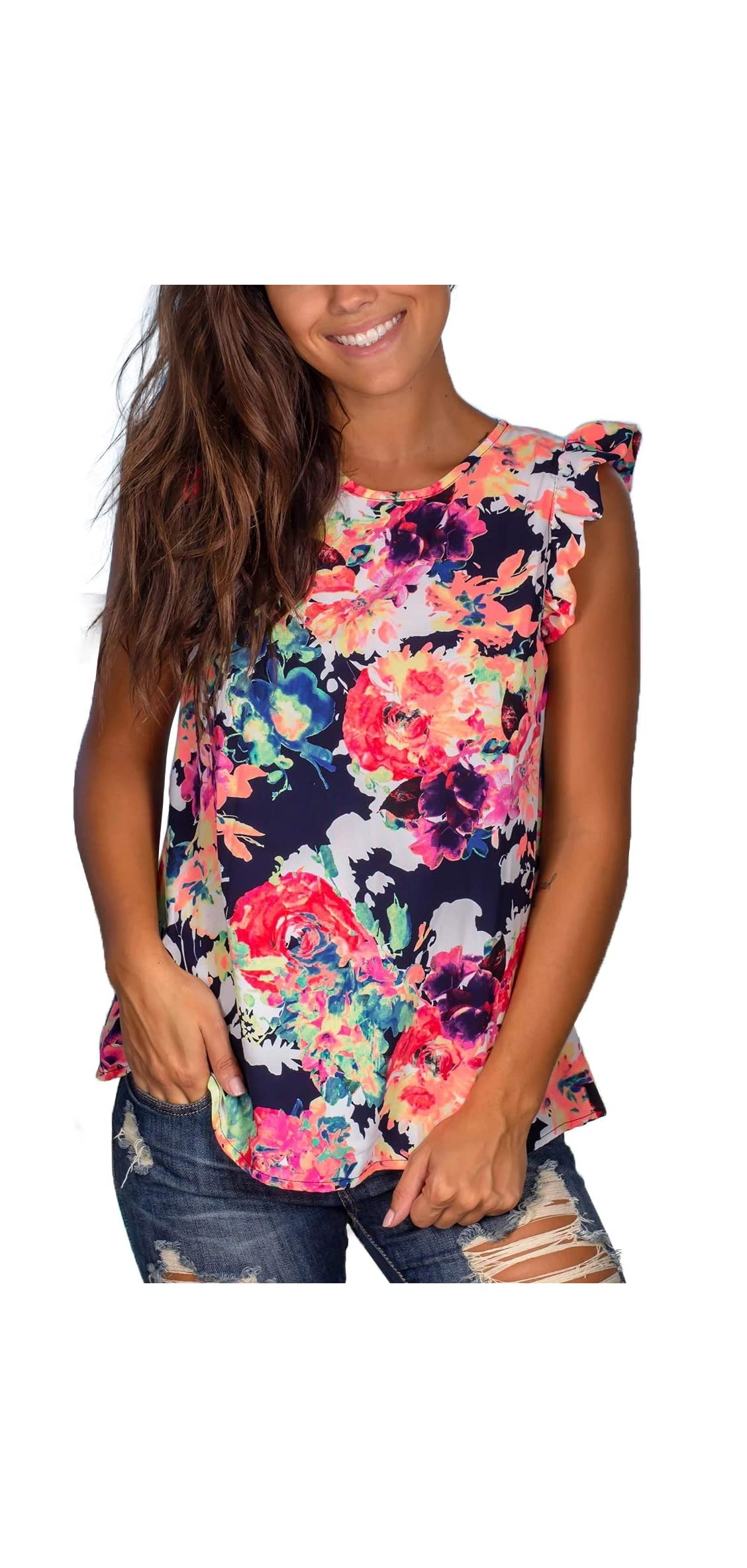 Womens Tank Tops Loose Fit Sleeveless Shirt Casual