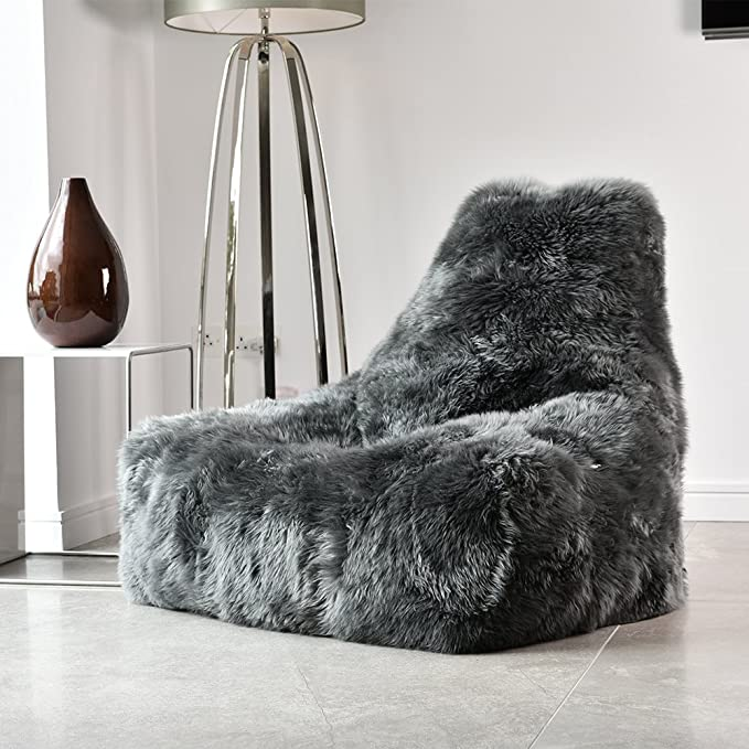 5dfb5d940e extreme lounging mighty b sheepskin fur bean bag in black  Amazon.co.uk   Kitchen   Home