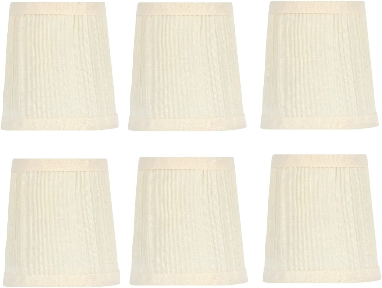 Upgradelights 4 Inch Pleated Retro Drum Chandelier Lamp Shades in Eggshell Set of six 3x4x4