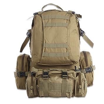 50L Bolsa mochila de senderismo al aire libre militar táctico Molle Bolso Mochila Mochilas Camping bolsas de deporte impermeable de camuflaje,caqui: ...