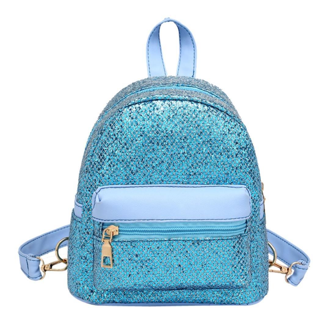 Inkach Womens Backpack Purse ❤️ Fashion Girls Mini Sequins School Bags Travel Rucksack (Sky Blue)