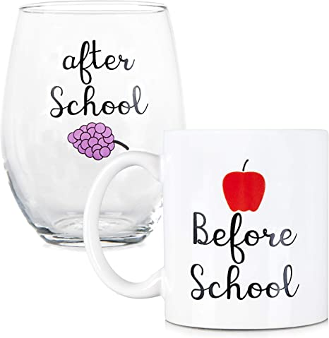 Before School, After School Coffee Mug and Stemless Wine Glass Set