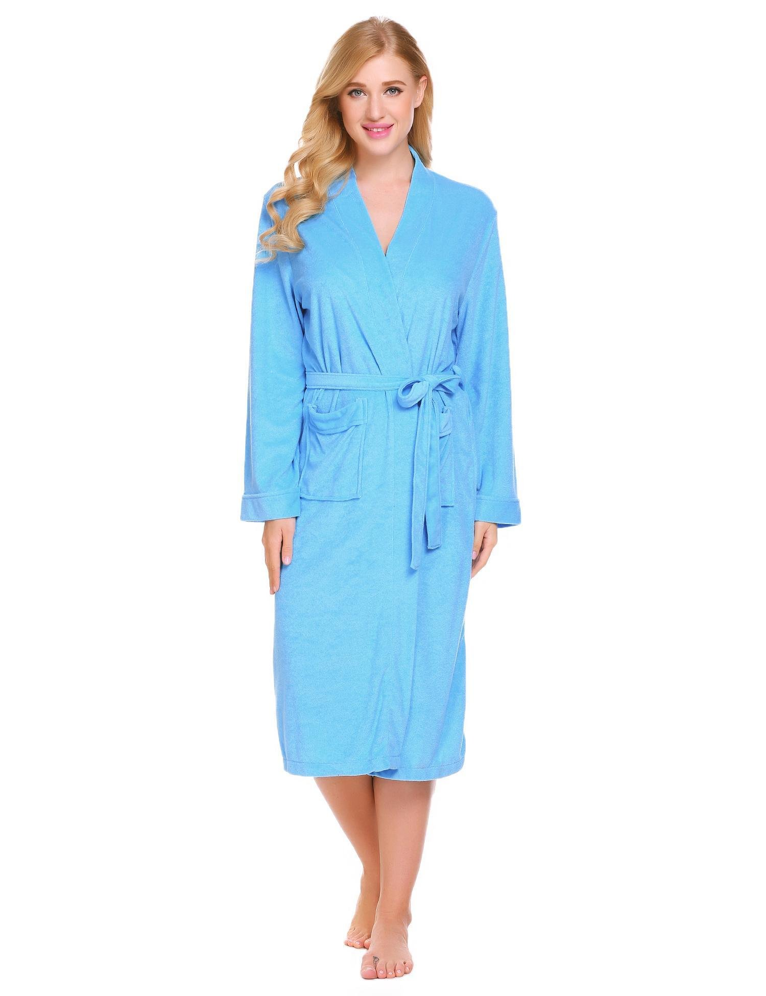 Corgy Women Robe Cotton Terry Lightweigt Belted Kimono Spa Bathrobe with Pockets