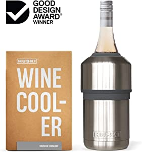 Huski Wine Cooler | Premium Iceless Wine Chiller | Keeps Wine or Champagne Bottle Cold up to 6 Hours | Award Winning Design | New Wine Accessory | Perfect Gift for Wine Lovers (Brushed Stainless)