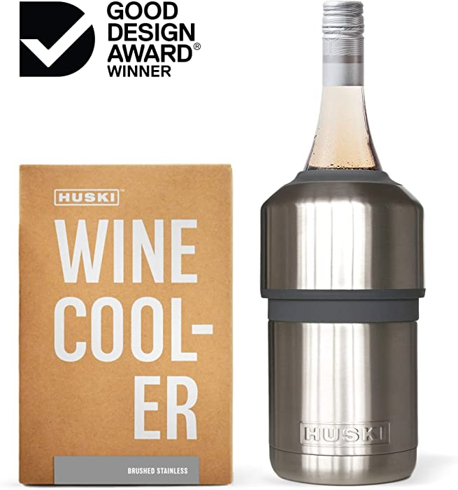 Huski Wine Cooler   Premium Iceless Wine Chiller   Keeps Wine or Champagne Bottle Cold up to 6 Hours   Award Winning Design   New Wine Accessory   Perfect Gift for Wine Lovers (Brushed Stainless)