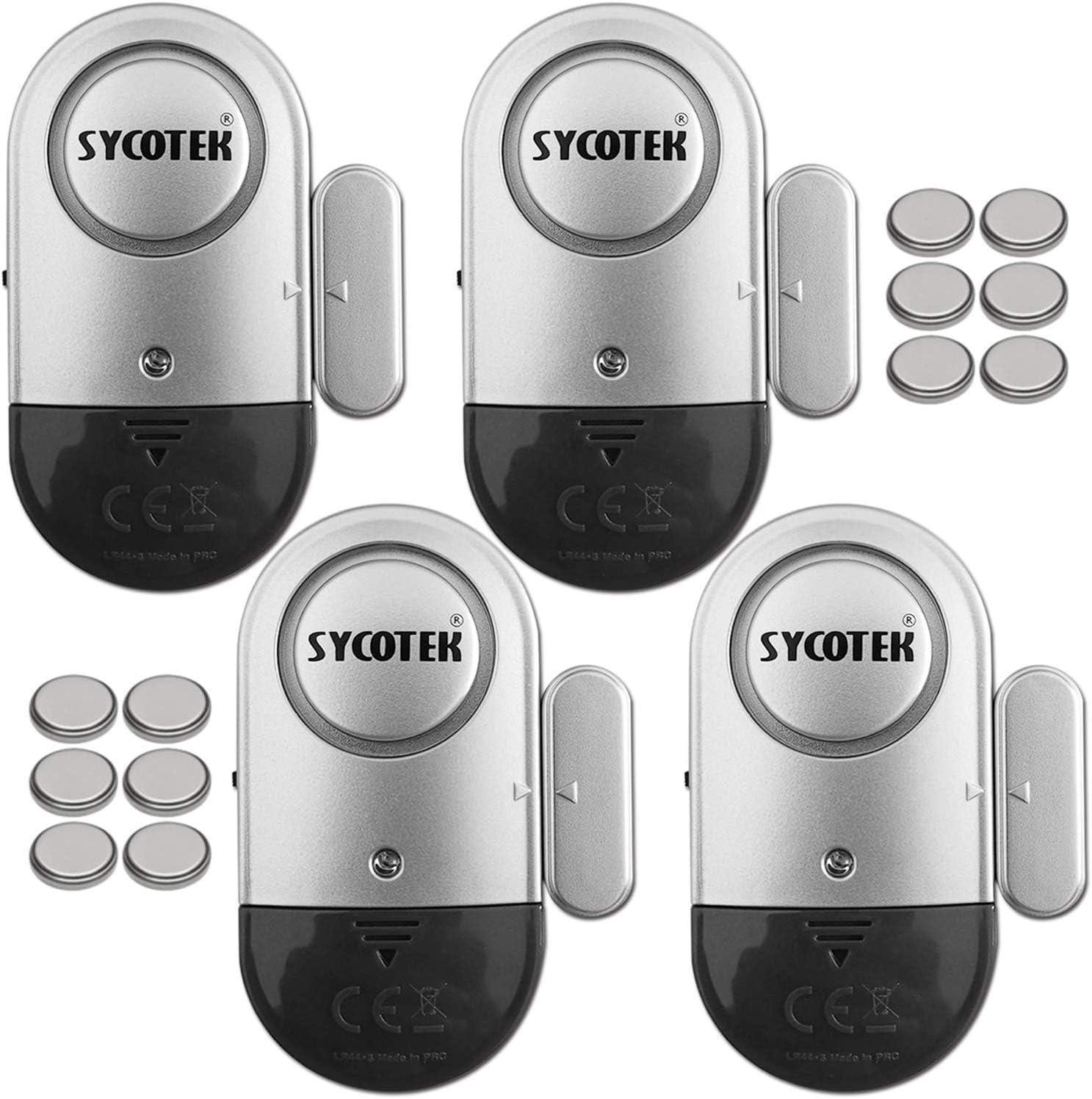 Alarma de Puerta y Ventana, SYCOTEK Sistema de Alarma con Sensor de Movimiento, Negro y Plata, 4 en 1