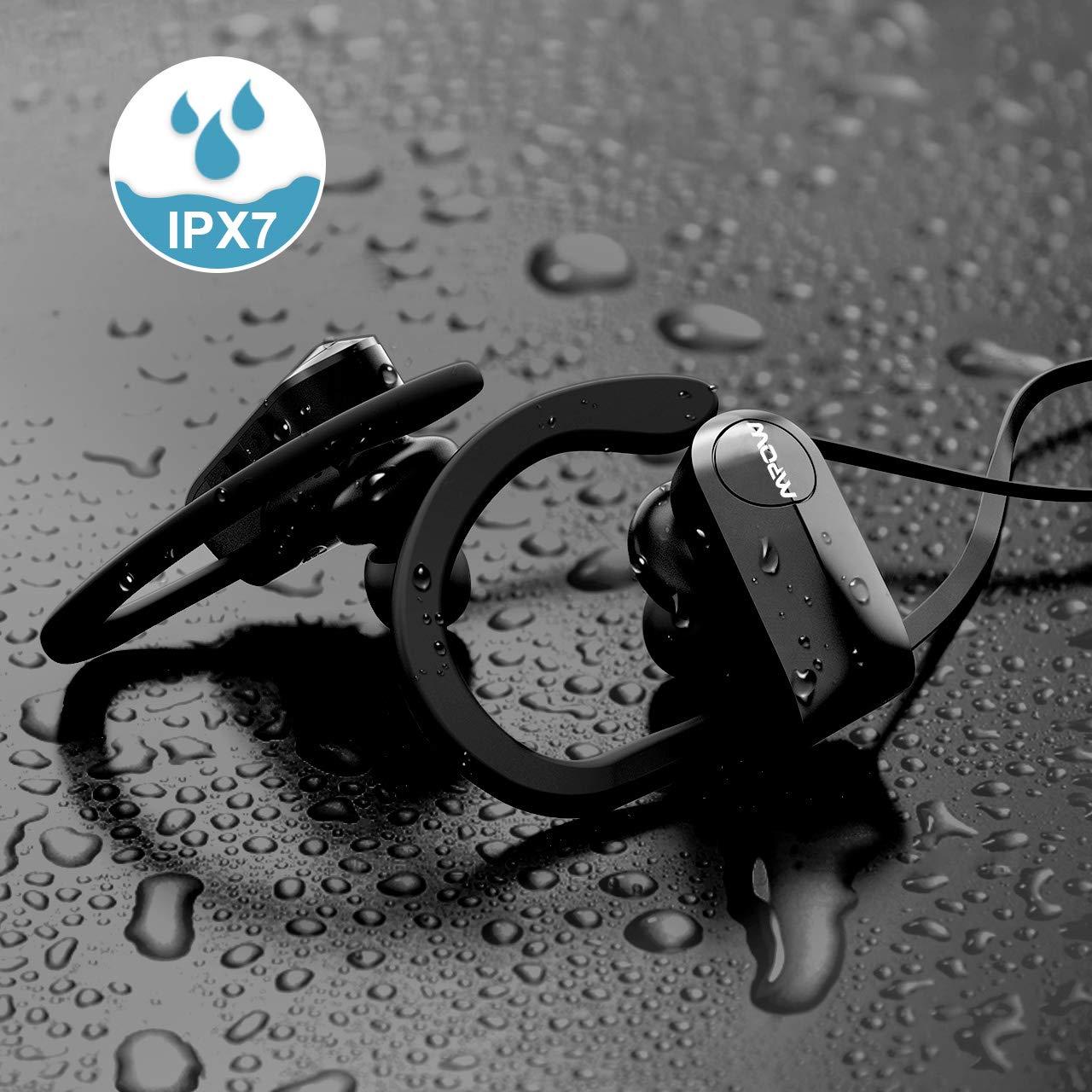 Mpow D7 Bluetooth Headphones Sport, 10H Playtime & IPX7 Waterproof Wireless Headphones Sport Earbuds W/Bass Stereo Sound, Running Headphones Bluetooth Earphones W/CVC 6.0 Noise Cancelling Mic, Black by Mpow (Image #5)