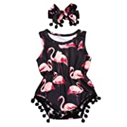 Newborn Toddler Baby Girl Romper Bodysuit Sleeveless Floral Jumpsuit Outfit Set with Headband (0-6 Months, Flamingo)