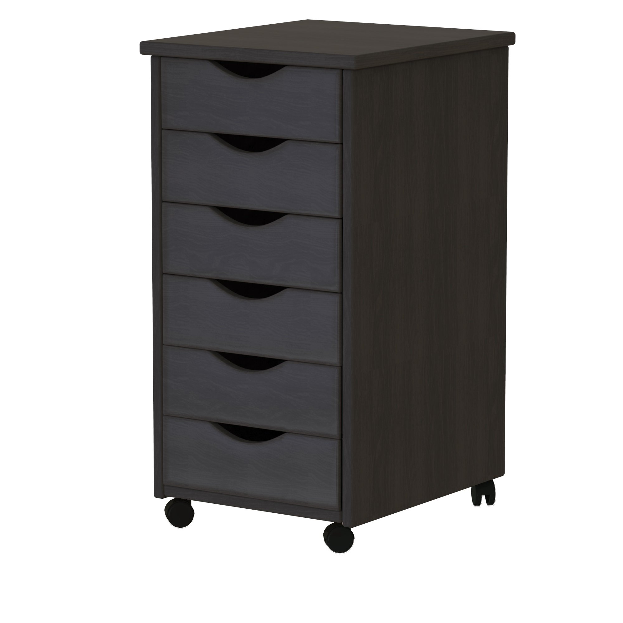 ADEPTUS 88006  6 Drawer Roll Cart Solid Wood, Black