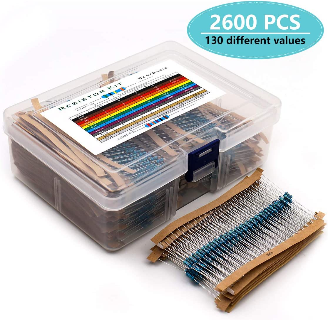 Respberry Pi Projects and Experiments MelkTemn 2600pcs Resistor Kit 130 Values 1 Ohm-3M Ohm 1 4W Metal Film Resistors Assortment with Storage Box for DIY Projects Arduino
