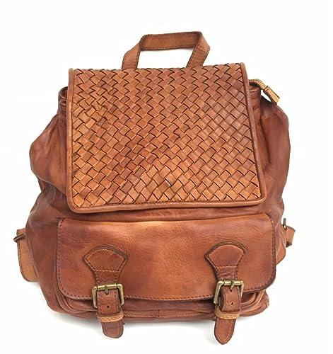 599884bfc0 Superflybags Borsa Zaino Donna In Vera Pelle Vintage Intrecciata ...