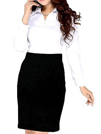 8a8a56403cf22 Womens Office Bodycon Pencil midi Skirt Girls School Uniform Pencil Skirt  Grey Navy Blue Black Sizes from 6-18  Amazon.co.uk  Clothing