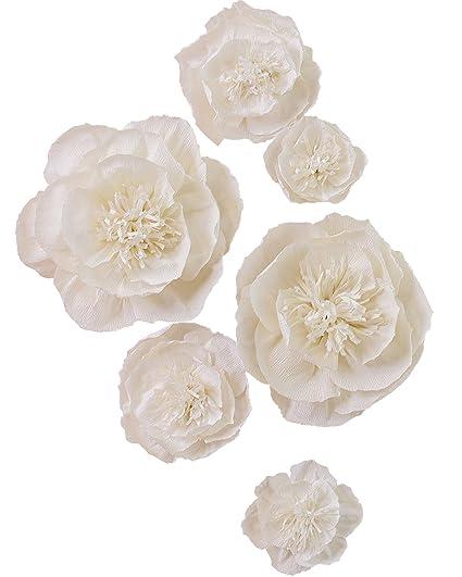 Amazon.com: Large Paper Flower Decorations Beige Crepe Paper Flower ...