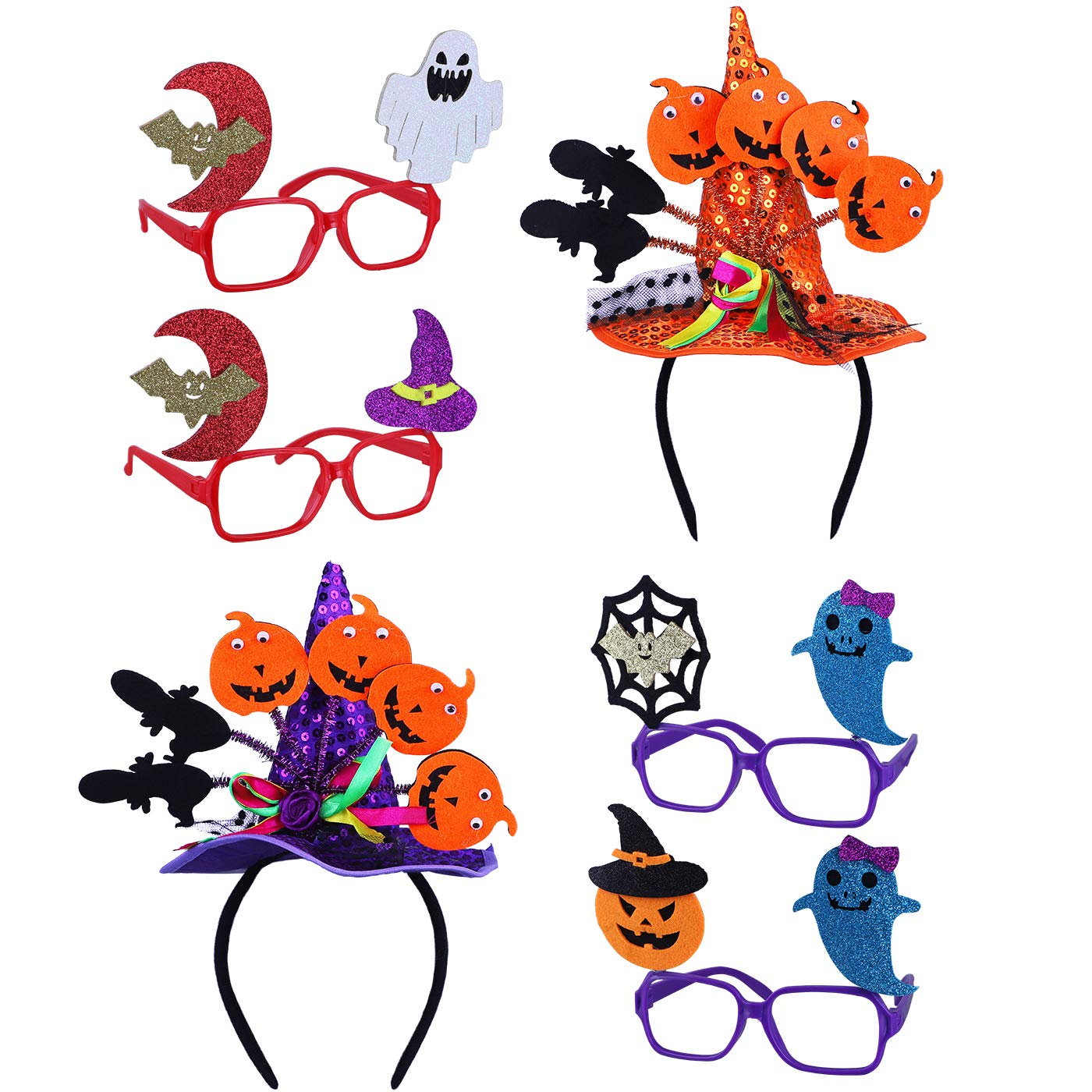 Antner 4pcs Halloween Glasses and 2pcs Halloween Witch Hat Headbands Set - Halloween Party Supplies Fancy Cosplay Costume by Antner