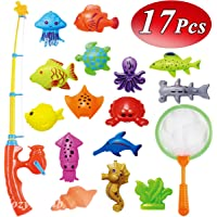 CozyBomB Kids Fishing Bath Toys Game - 17Pcs Magnetic Floating Toy Magnet Pole Rod Net, Plastic Floating Fish - Toddler Education Teaching and Learning Colors