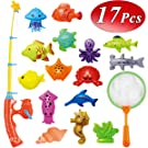CozyBomB Kids Fishing Bath Toys Game - 17Pcs Magnetic Floating Toy Magnet Pole Rod Net, Plastic Floating Fish - Toddler Education Teaching and Learning Colors Ocean (Medium)