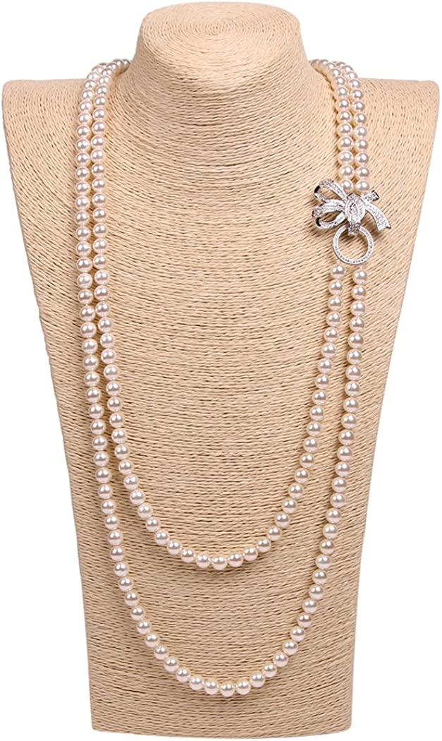 Art Kim Princess Rhinestone Bow Pearl Strands Necklaces