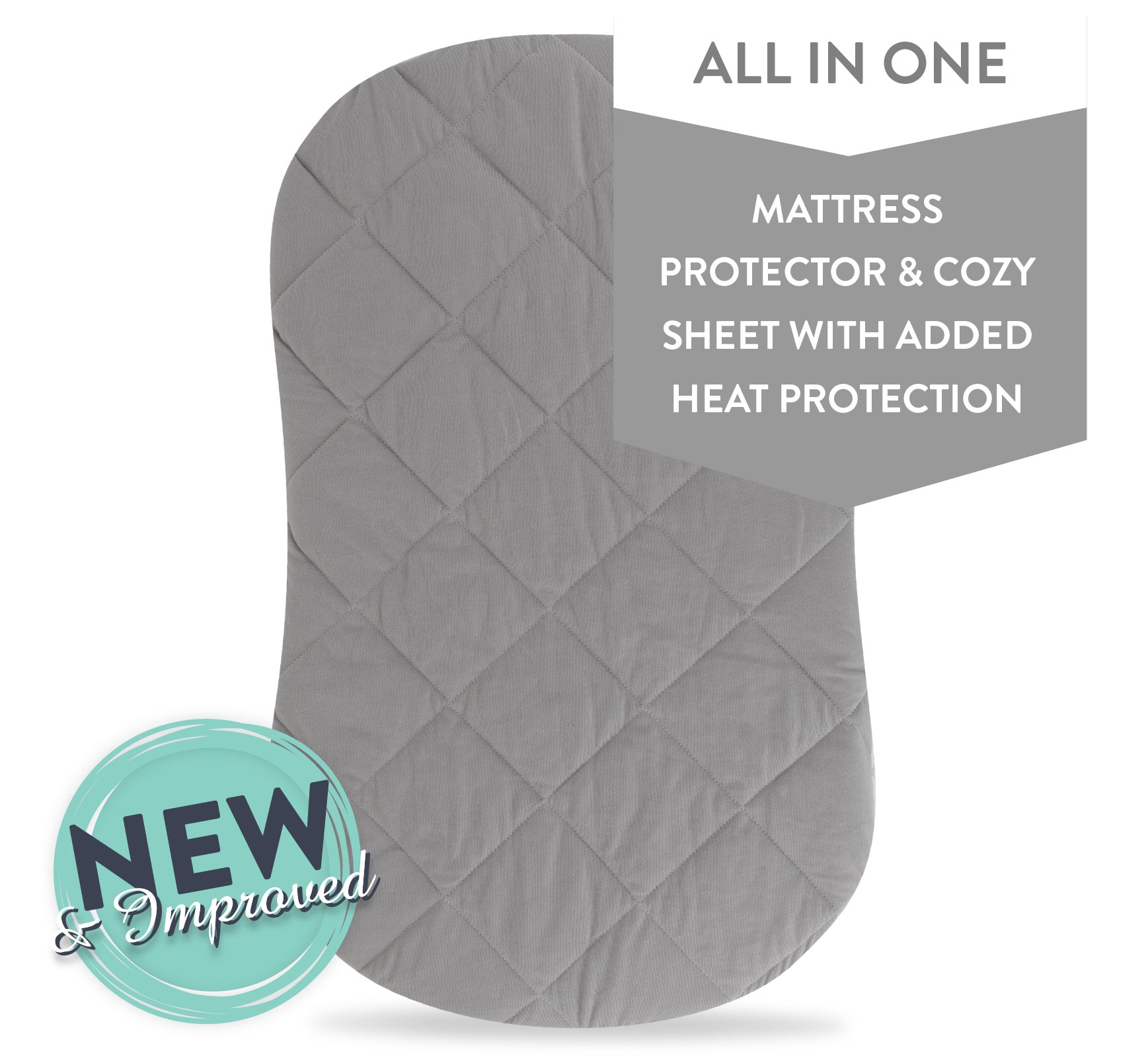 Jersey Cotton Quilted Waterproof Hourglass/Oval Bassinet Sheet All in one Bassinet Sheet and Bassinet Mattress Pad Cover with Heat Protection - Grey, by Ely's & Co.