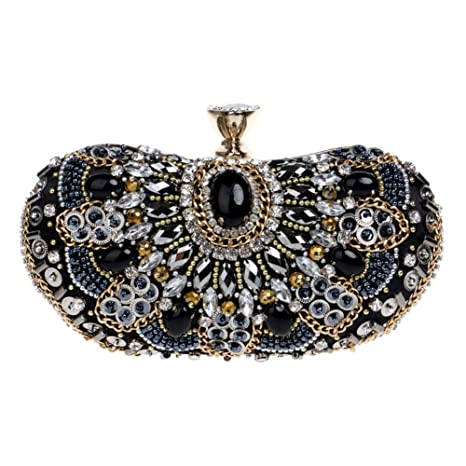 Bolso Mujer Noche Bolsas Fiesta Boda Carteras Mano Diamantes Cadena Embrague Negro