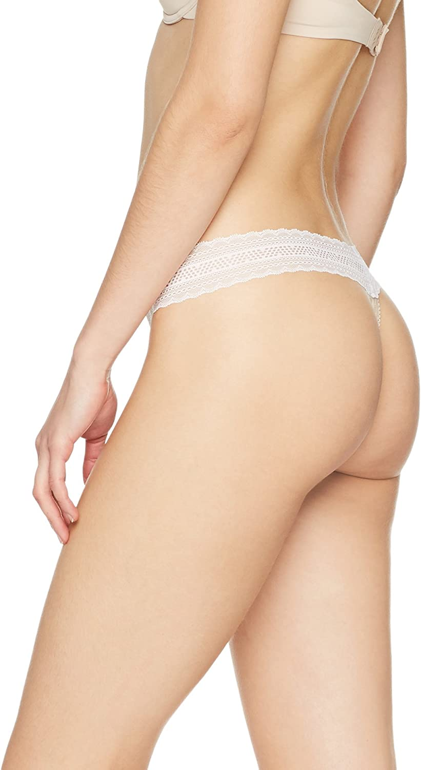 Pack of 3 Brand Iris /& Lilly Womens Thong Cotton with Lace Trim