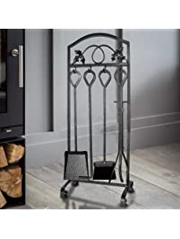 5 pieces fireplace tools sets leaf design pewter wrought iron fire place tool set and decor
