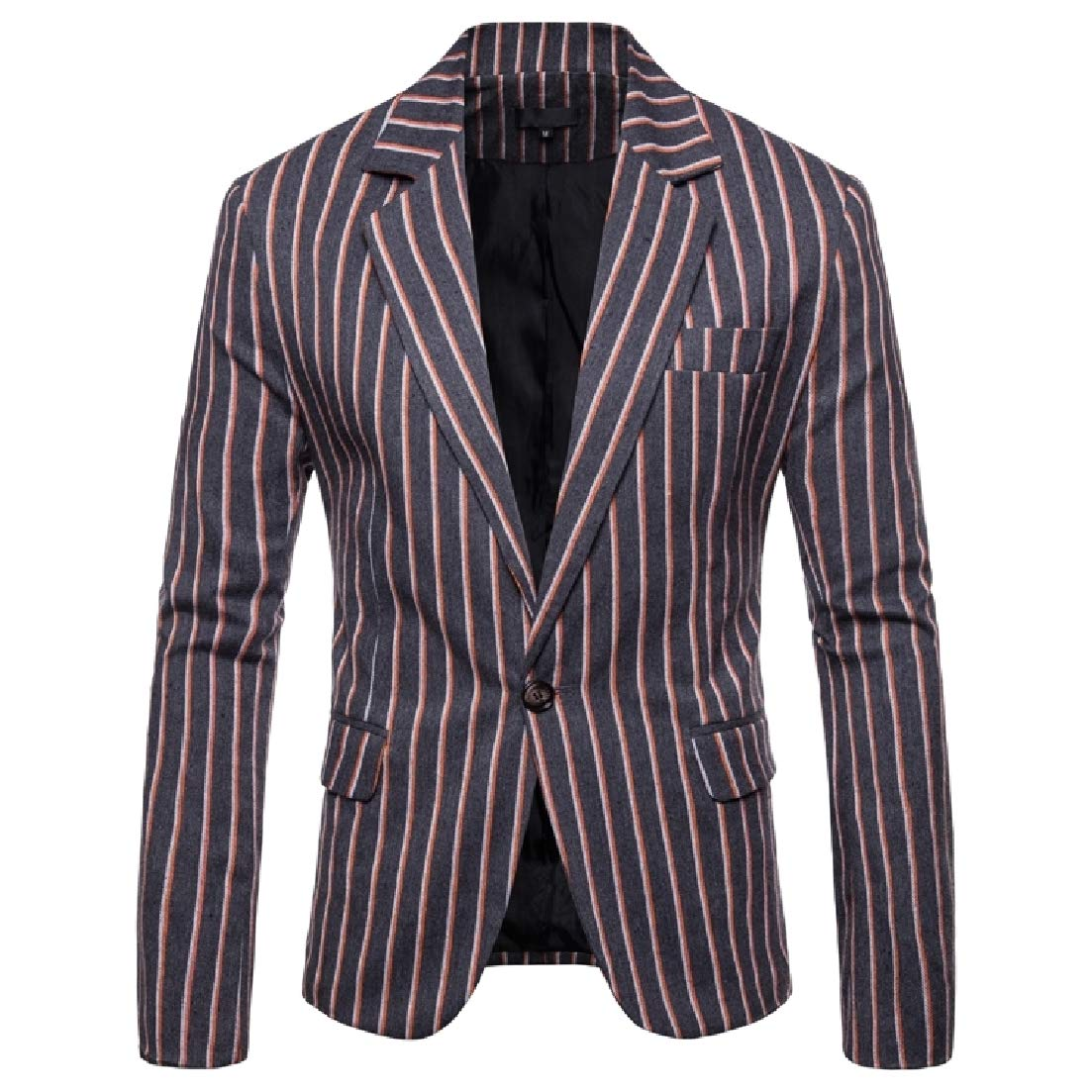 AngelSpace Mens Formal Striped Plus Size Skinny Blazer Jacket Suits