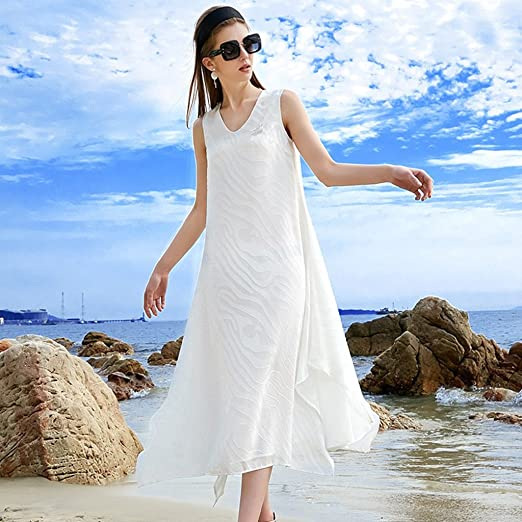 Meng Wei Shop Vestido de Vacaciones en la Playa Falda Larga de ...