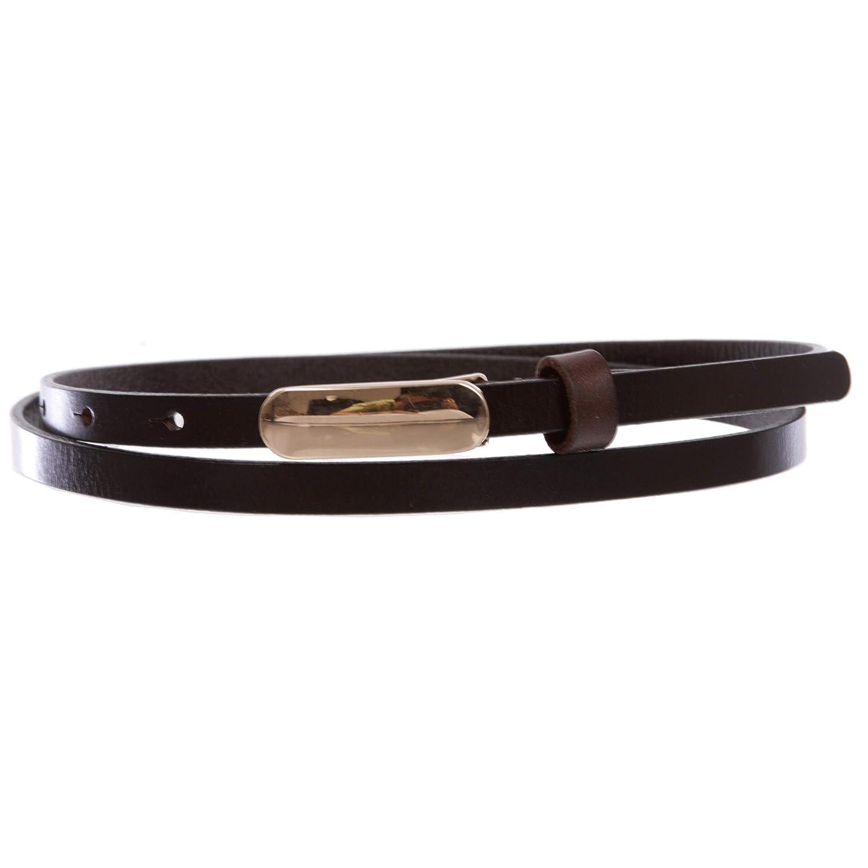 Dark Brown Women's 3 8  (10 mm) Skinny Plain Solid Real Leather Dress Belt, Dark Brown   small