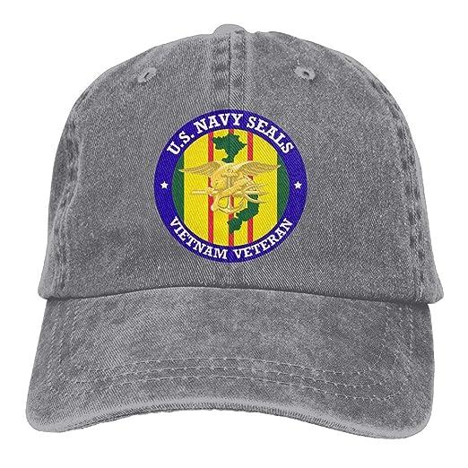90a275f0f2b Amazon.com  Endool US Navy Seals Vietnam Veteran Mens Cotton Adjustable  Washed Twill Baseball Cap Hat  Clothing