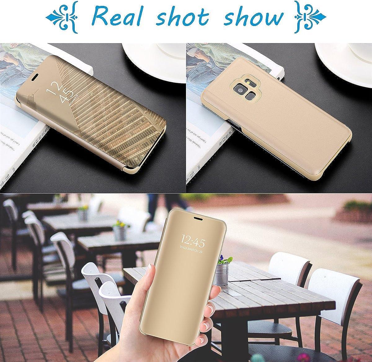 Spiegel Cover Clear View Case Flip mit Standfunktion Card Galaxy A30 handyh/ülle Flip schal mit Tasche Shell Kompatibel mit Samsung Galaxy A10 H/ülle Schutzh/ülle Case